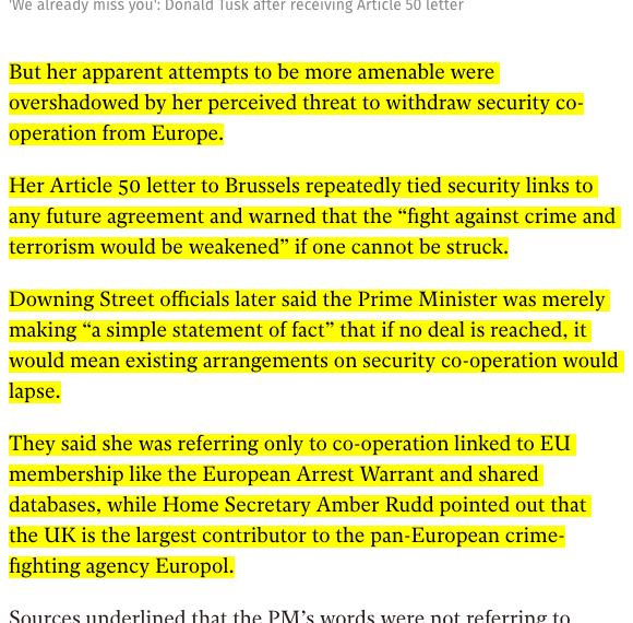 Screenshot of independent.co.uk article mentioned above with highlighted text about the Article 50 letter from Theresa May regarding the Five Eyes exit and the theoretical implications for Europol